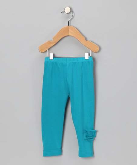 Teal Flower Organic Leggings - Infant, Toddler & Girls