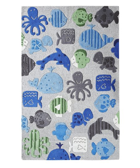 Gray Sea World Wool Rug