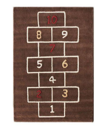 Brown Hopscotch Play Wool Rug