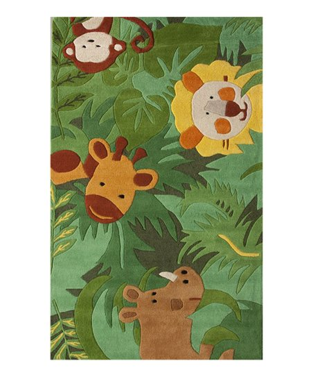 Green Animal Friends Wool Rug