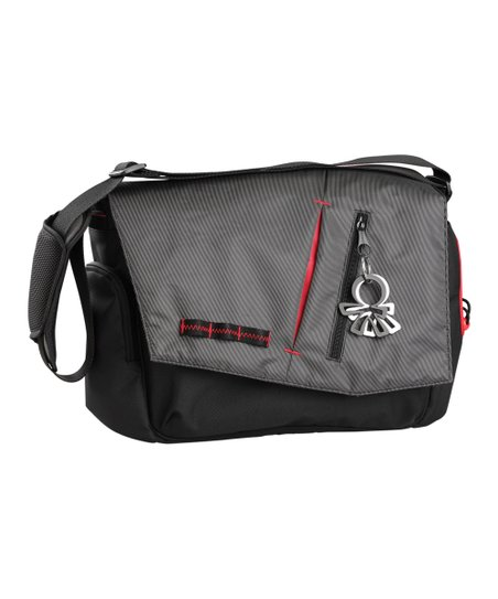 Gray & Black Nine 2 Five Samurai Messenger Diaper Bag