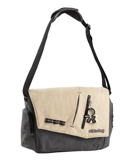Charcoal Gray & Beige Yukon Samurai Messenger Diaper Bag