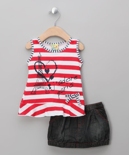 Red Stripe Heart Top & Skirt