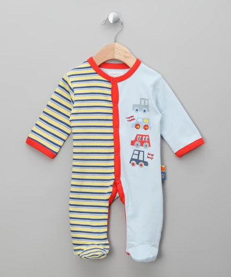 Blue Stripe 'Vroom Vroom' Footie