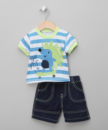 Navy &amp; Green Hedgehog Tee &amp; Shorts - Infant