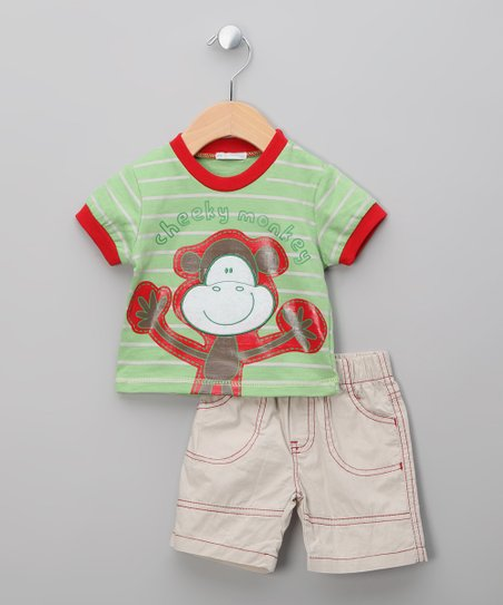 Green Stripe Monkey Tee & Shorts