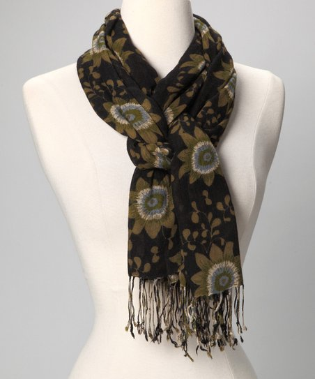 Black Passion Flower Scarf