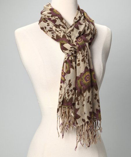 Passion Flower Cream Scarf