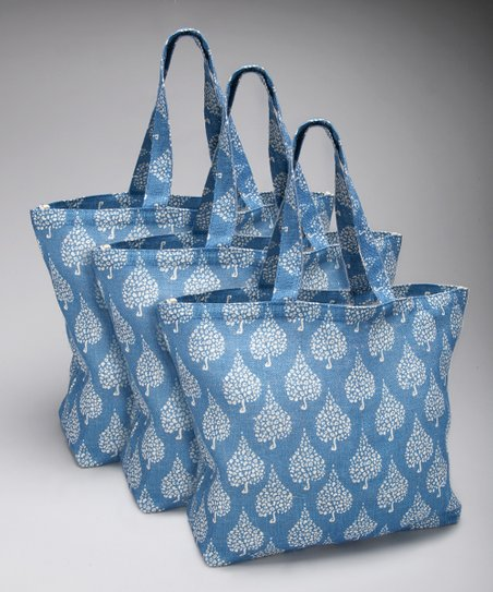 Crete Blue Jute Oversize Tote - Set of Three