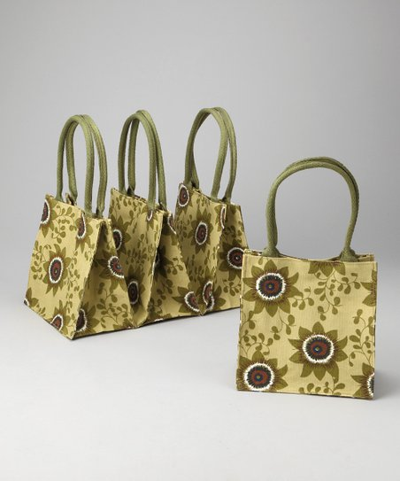 Tan Passion Flower Itsy Bitsy Tote - Set of Four