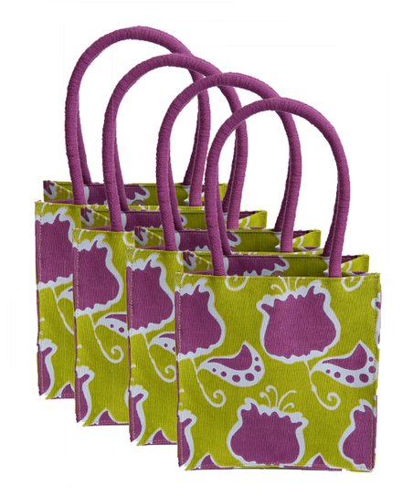 Purple & Green Itsy Bitsy Tote - Set of Four