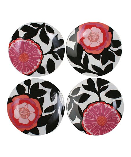 tag Zinnia Floral Appetizer Plate - Set of Four