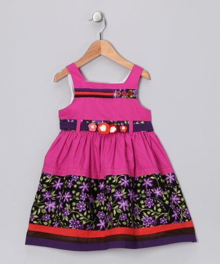 Dark Plum &amp; Purple Belted Dress - Infant, Toddler &amp; Girls