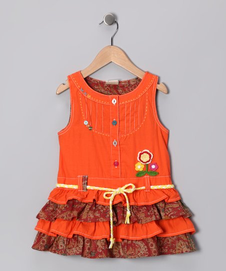 Orange Ruffle Tiered Dress - Infant, Toddler & Girls