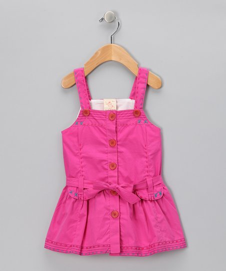 Pink Stitch Button-Up Dress - Infant, Toddler & Girls