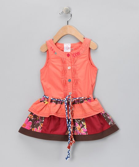 Peach Patchwork Button-Up Dress - Infant, Toddler & Girls