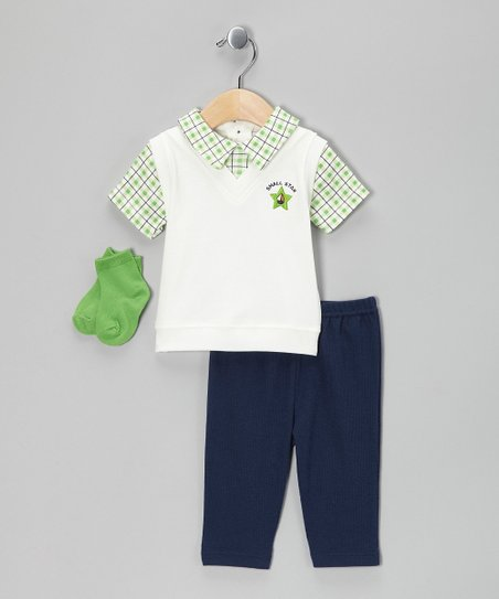 White &amp; Green Plaid Layered Polo Set