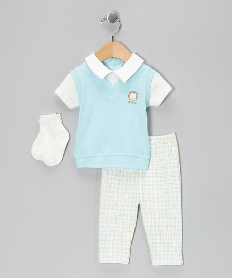Cream & Blue Plaid Layered Polo Set