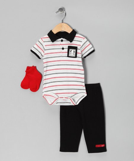 Black &amp; Red Stripe Bodysuit Set
