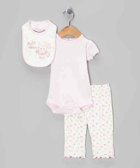 White &amp; Pink Bunny Pants Set