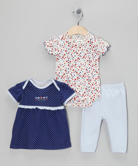 Navy Blue & Floral Bodysuit Set