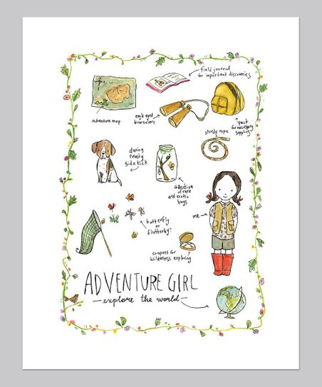 Brunette Adventure Girl Print