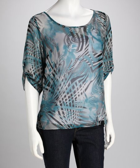 Teal & Black Sheer Stripe Silk Top