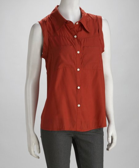 Rust Sleeveless Button-Up