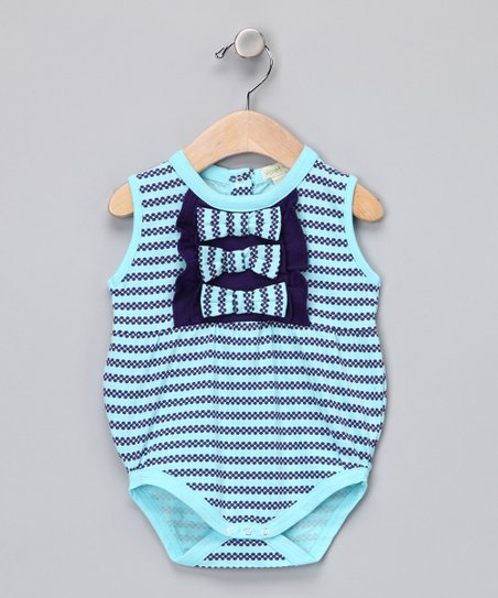 Blue & Purple Ruffle Organic Bubble Bodysuit - Infant