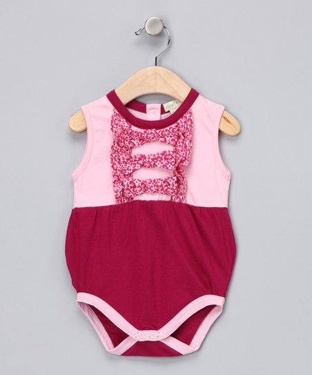 Hot Pink Ruffle Organic Bubble Bodysuit - Infant