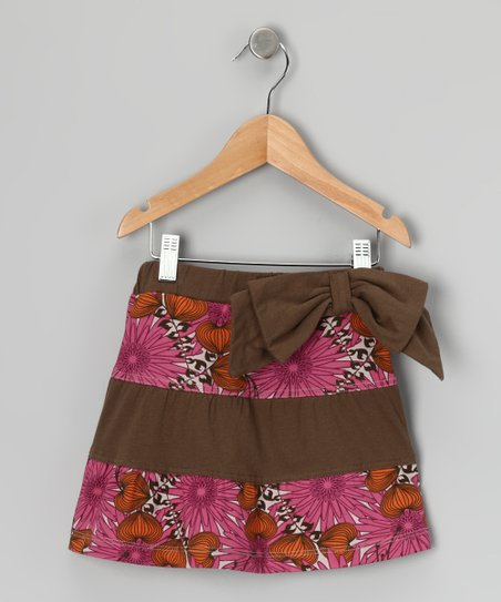Pink Floral Fiesta Bow Organic Skirt - Infant, Toddler & Girls