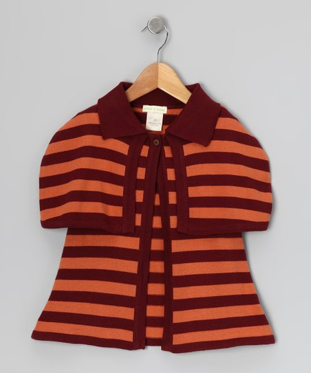 Russet Stripe Sweater Button Organic Cardigan - Infant