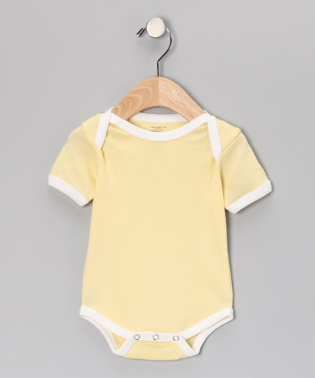 Yellow & White Organic Bodysuit - Infant