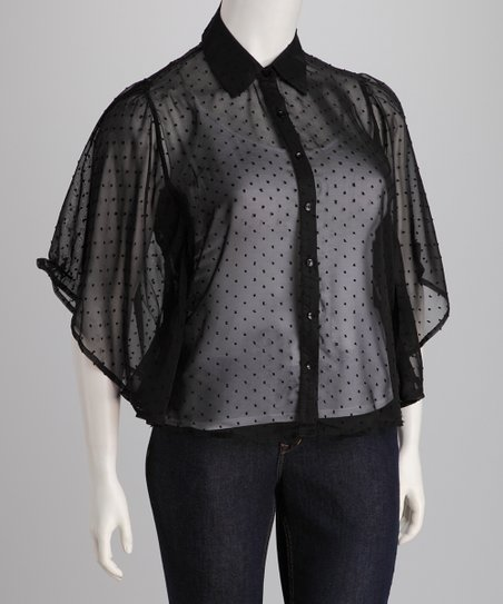 Black Sheer Plus-Size Button-Up