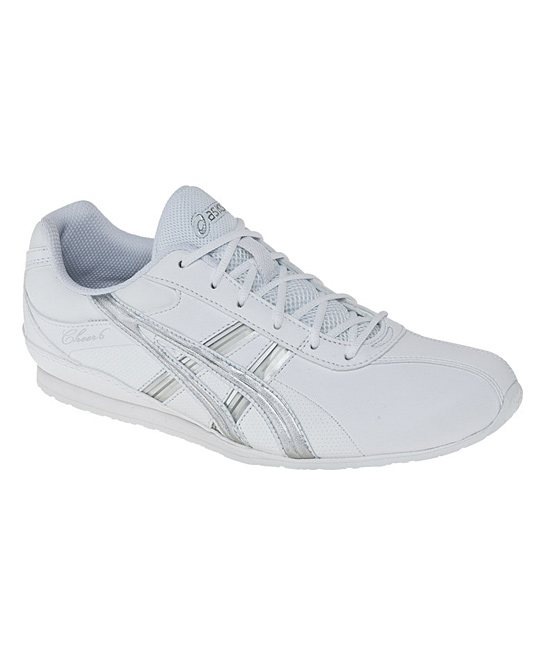 asics white silver cheer 6 gs cheerleading shoe
