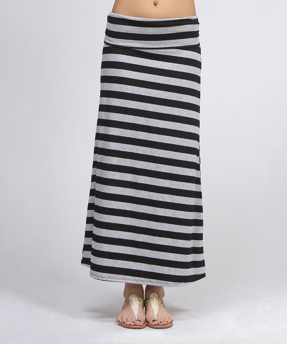 black gray stripe maxi skirt zulily