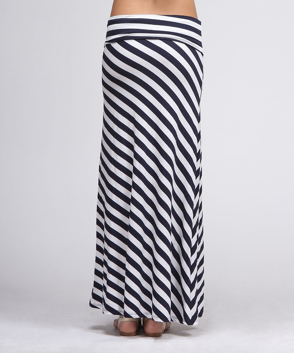 navy white diagonal stripe maxi skirt zulily