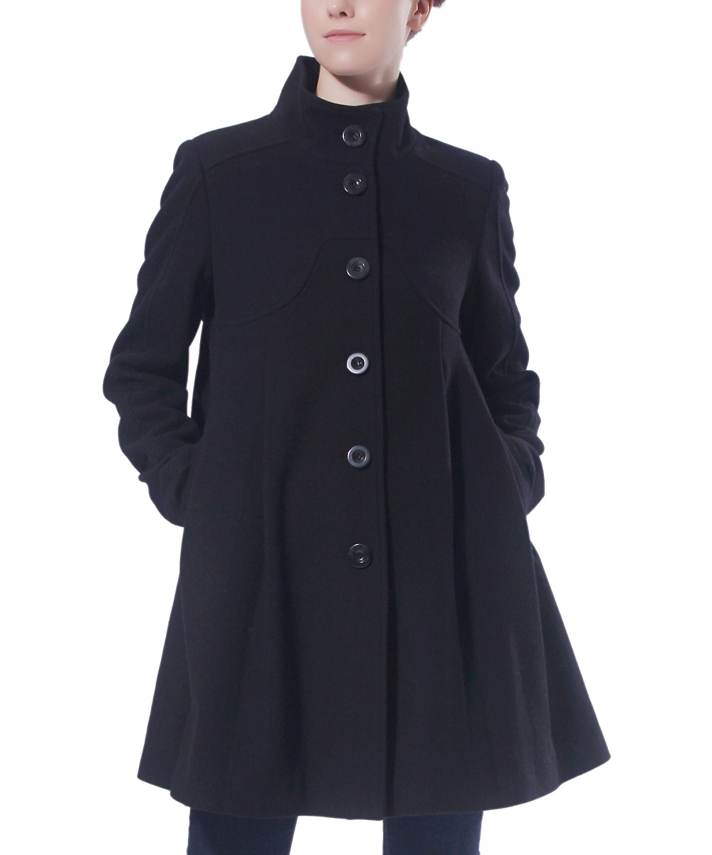 MOMO Maternity Black Wool-Blend Maternity Swing Coat | zulily