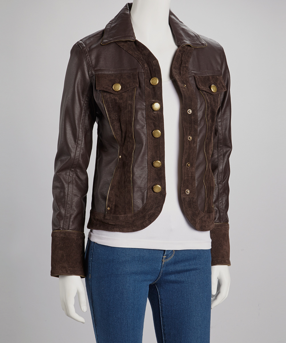 Live A Little Dark Brown Faux Leather Jacket - Women | zulily