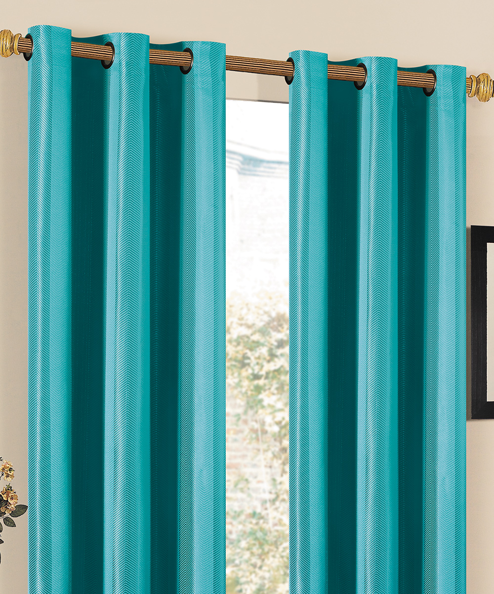 duck river textile turquoise herringbone grommet curtain panel zulily