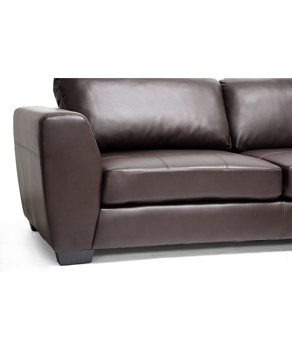 Baxton studio brown leather right chaise sectional sofa for Brown leather chaise lounge