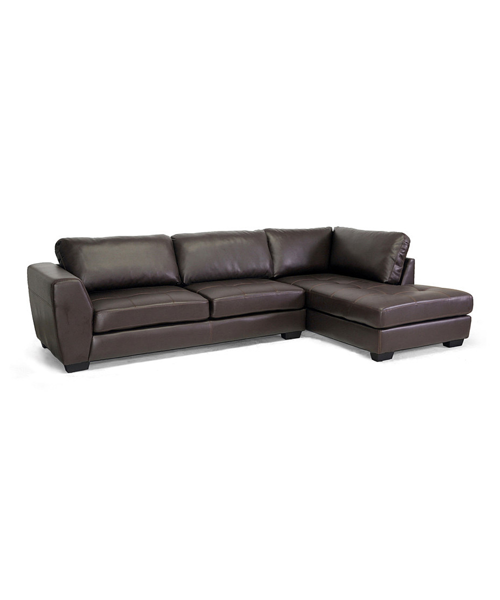 Baxton studio brown leather right chaise sectional sofa for Brown sectional sofa with chaise