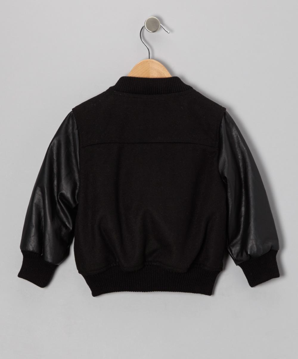 Urban Republic Black Faux Leather Varsity Jacket - Toddler & Boys