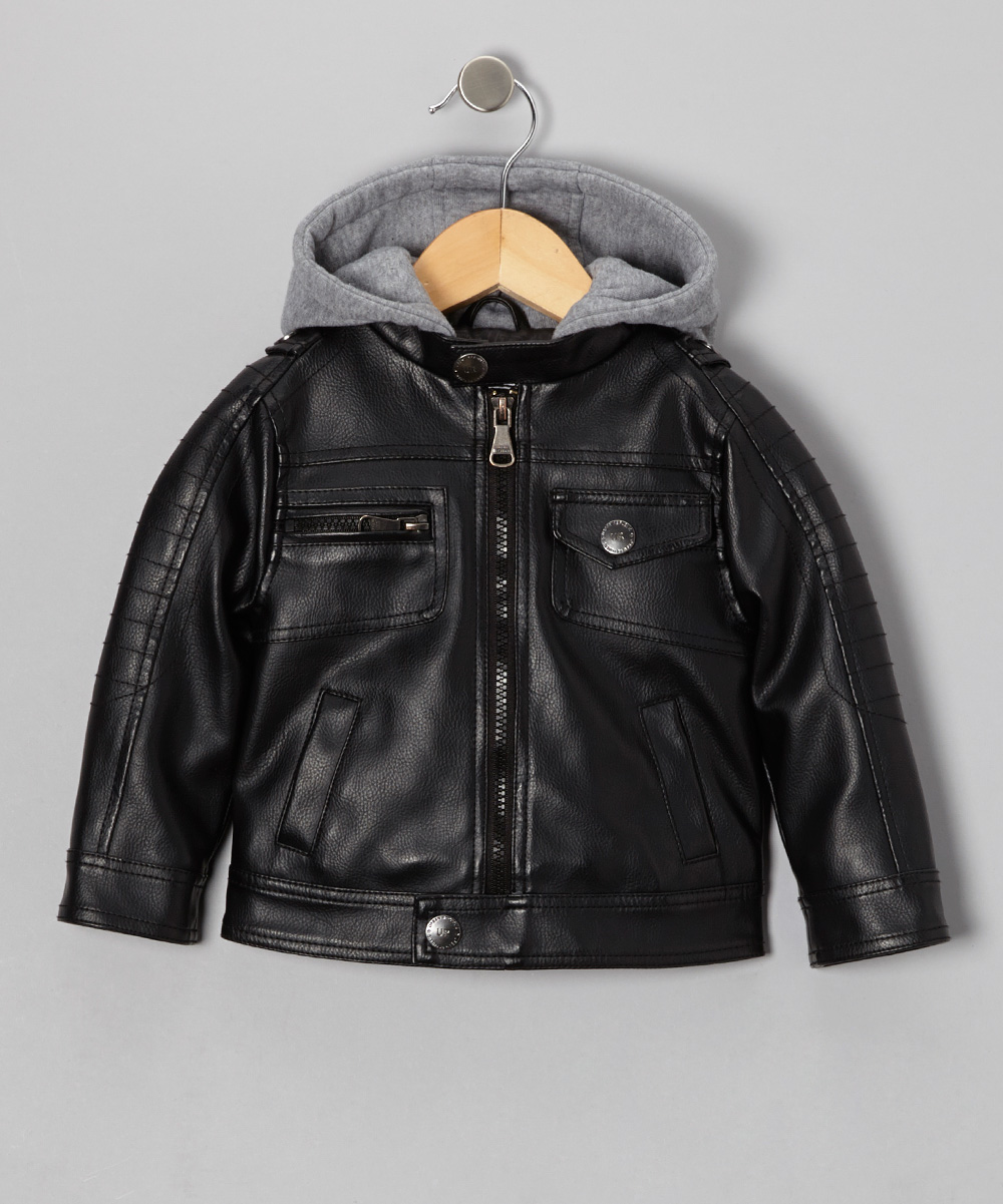 Black Rivet Faux Leather Jacket (Little Boys) - Polyvore