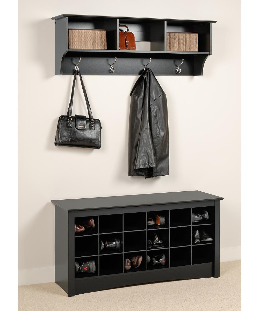Black Shoe Cubby Bench