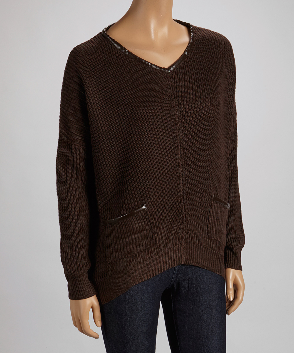 Brown V Neck Sweater - Full Zip Sweater