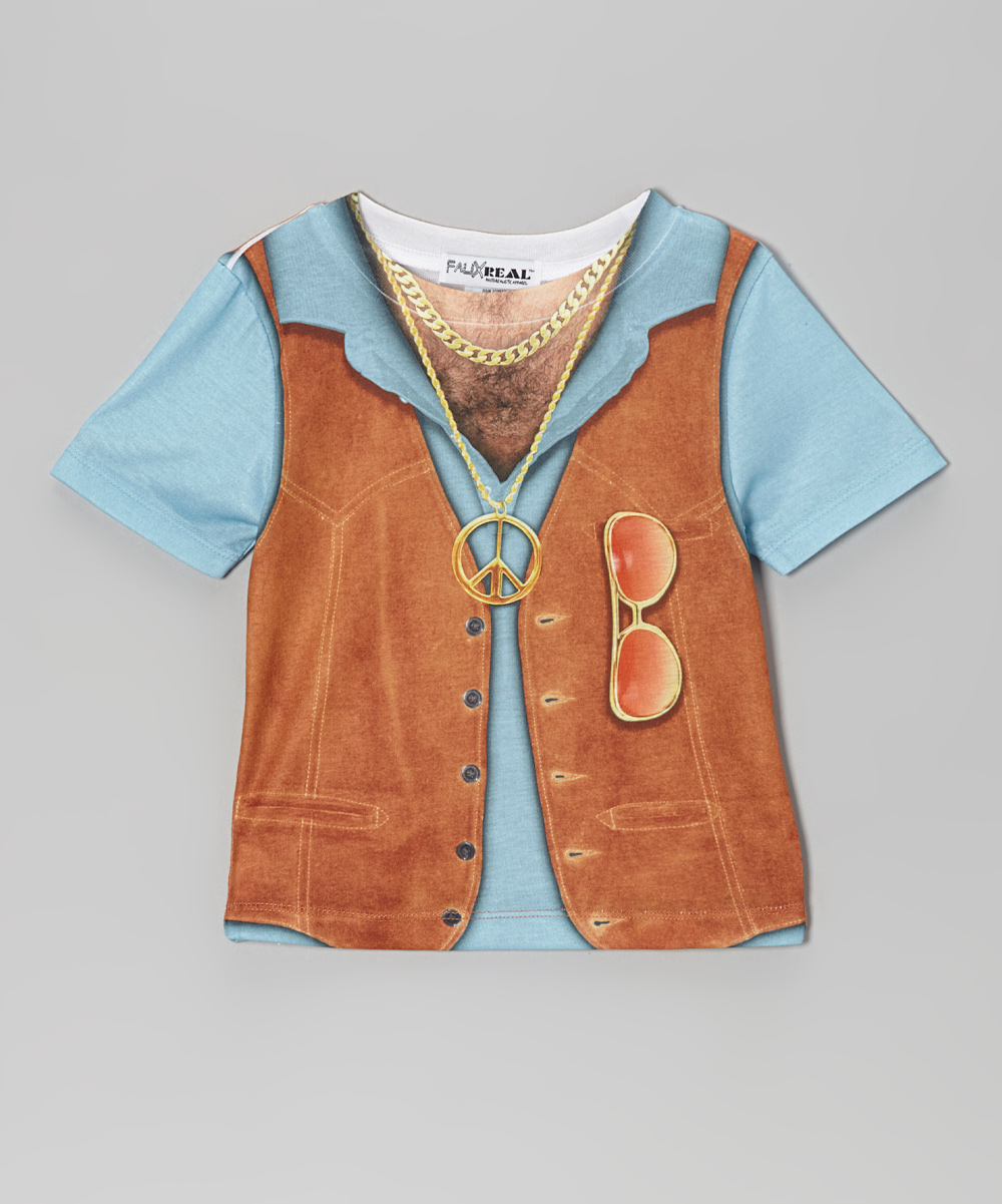 1970s clothing for kids blue 1970s hairy chest tee