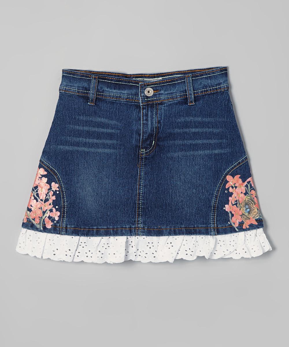 no fuze denim floral ruffle skirt zulily