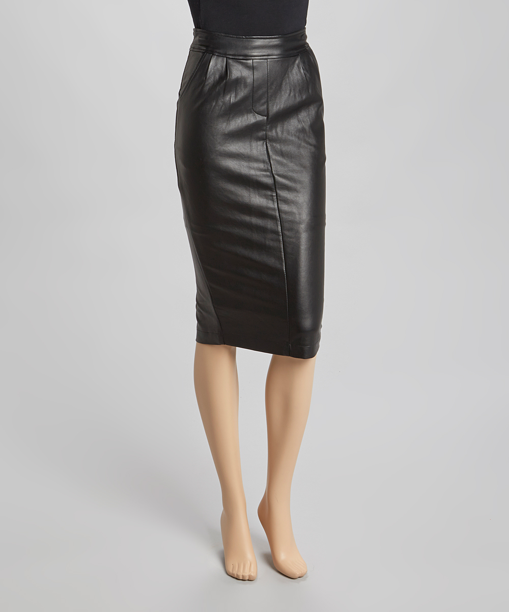 Black Leather Pencil Skirt 97