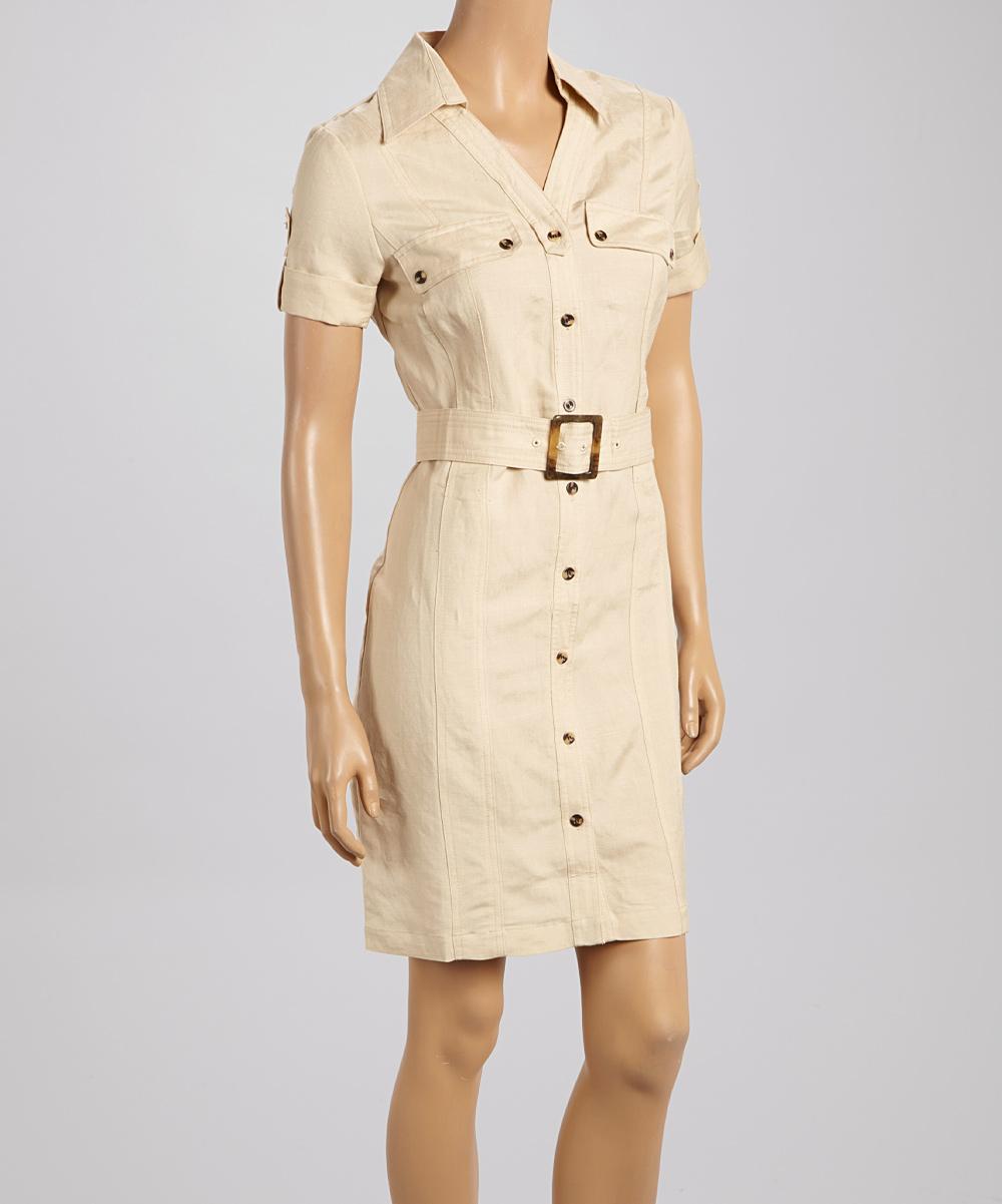 Khaki Shirt Dress - Women & Plus | zulily